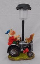 "Happy Garden Gnome On Tractor w/ Squirrel, Solar Power Lawn Light, 13.5"" Tall"
