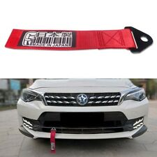 Red Car Bumper Tow Strap JDM Made in Japan Pattern Rope Towing Belt Hauling Hook