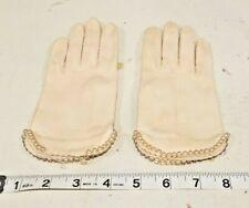 Vintage Fownes Ladies Pale Pink Gloves~Hand Sewn Beaded trim~Wrist Length~ sz 6
