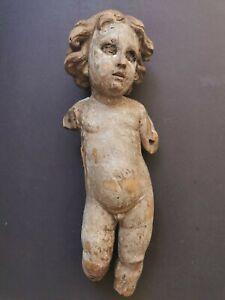 Superbe ange baroque époque 18eme sculpté en bois polychrome putto chérubin 18e
