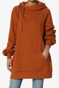 TheMogan S~3X Side Drawstring Fleece Relaxed Hooded Pullover Tunic Sweatshirts