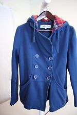 Miss Posh Cotton Blend Blue Hooded Double Breasted 3 Button Jacket Size - Large