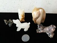 Vintage Antique Hand Carved Hard Stone Onyx Figurines Animal Collection Figure