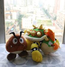 "Super Mario Bros brown 5"" Goomba & 10"" Bowser Koopa Plush Doll soft Toy 1 Set-2x"