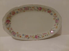 Vintage Oscar Schaller, Winterling China Platter, Bavaria Floral Gold Trim  (S3