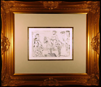Le Cocu Magnifique Plate 2 Original 1966 Etching by Pablo Picasso Framed