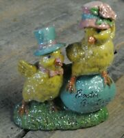 Easter Greeting! Decoration Chickens Easter Egg Glitter Statue