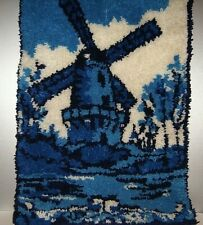 "Vintage Hand Made Shag Hooked Rug Dutch Windmill Blue/ White 35"" x 23"""