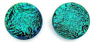 Pair (2 cabs):9.5mm-10mm round flat back no hole Dichroic Glass Cabochons RELEI