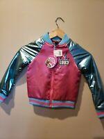 LOL Surprise Go Team Glitter Bomber Jacket Pink Girls Size XS 4-5 1993 NEW
