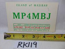 VINTAGE QSL CARD AMATEUR RADIO  HISTORY 1969 ISLAND OF MASIRAH MP4MBJ RARE