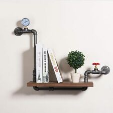 Rustic Industrial DIY Pipe Shelf Storage Vintage Wooden Bookshelf Wall Decor