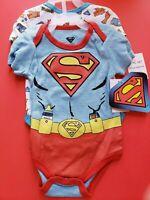 BOYS INFANT DC COMICS SUPERMAN BLUE SIZE 0-3 MONTHS 2 PACK BODYSUIT NWT