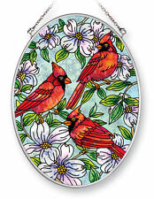 "Cardinals Dogwood Sun Catcher AMIA Hand Painted Glass 7"" x 5"" Oval Red Birds New"