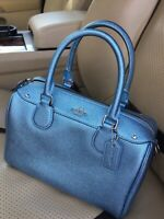 NWT Coach Mini Bennett Satchel Bag Crossgrain Leather Metallic Pool $295 F21508