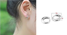 Woman Man Unisex Circle Ring 925 Sterling Silver Hoop Clip Earring 9mm