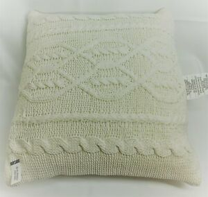 """THRESHOLD 24"""" x 24"""" Throw Pillow NWT Oversized Cable Knit Chenille Cream"""