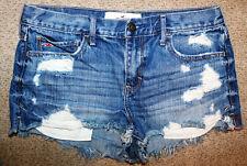 Hollister Medium Wash Distressed Cut Off Destroyed Jean Shorts Size 9 W29