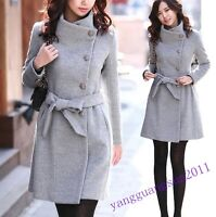Korean Womens Warm Winter Wool Blend Trench Coat Parka Overcoat Belted Jacket Sz