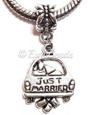 *JUST MARRIED*_Bead for European Charm Bracelet_Wedding Bride Groom Limo_O4