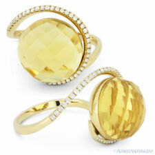 14k Yellow Gold Right-Hand Cocktail Ring 8.62 ct Checkerboard Citrine & Diamond
