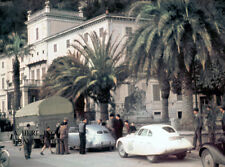 BMW 328 factory car racing team arrival at Mille Miglia 1940 - photograph photo