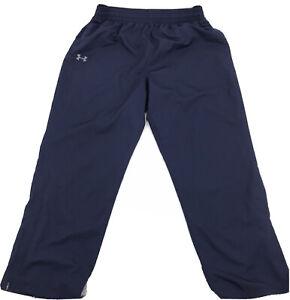 Under Armour Mens Navy Blue Track Pants W/Ankle Zip Sz 2Xl