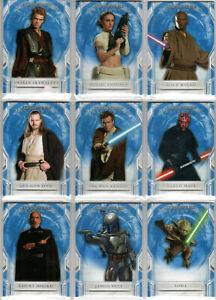 STAR WARS 2018 TOPPS MASTERWORK BLUE PARALLEL BASE TRADING CARD SET (1-100)