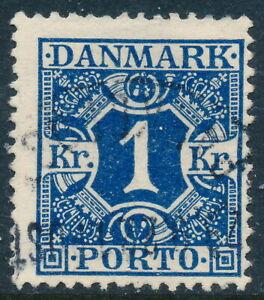 Denmark Scott J22/AFA Porto 15, 1Kr dark blue Postage Due, F Used