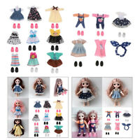 14 Set Mini Girl Dolls Clothes Outfits w/ Shoes Fit for 6inch Doll Dress Up