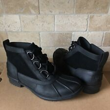 UGG HEATHER BLACK LEATHER WATERPROOF RAIN ANKLE BOOTS SIZE US 6 WOMENS