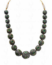 PEARL & EMERALD GEMSTONE ANTIQUE STYLE NECKLACE & EARRING SET LN011112