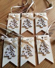 3 x Cadeau De Noël Étiquettes Suspendu Décorations colis cadeau étiquette Handmade Crème