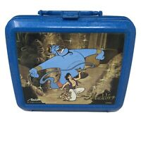 Disney Aladdin Genie Movie Vintage Blue Plastic Lunchbox Vtg