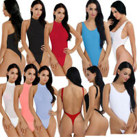 Women's Bodysuit One-piece High Cut Thong Leotard Romper Tops Swimwear Monokini