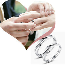 Men Women Solid Silver Lover Couple Rings Wedding Band His and Her Promise Rings