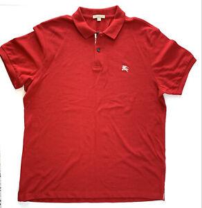 Burberry Men's Red Polo Shirt Size XXL