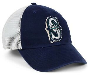 MLB Seattle Mariners Stamper Mesh Baseball Cap Hat '47 Closer Stretch Fit L/XL
