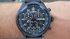 Timex Men's Field Expedition Chronograph Watch Black Dial Fabric Strap Indiglo