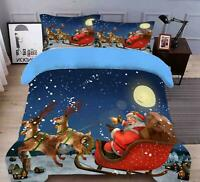 3D Sleigh Santa Moon O074 Christmas Quilt Duvet Cover Xmas Bed Pillowcases Fay