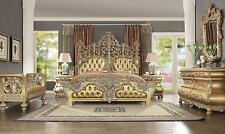 Homey Design HD-8016 Victorian Carved Frame Rich Gold Finish Bedroom Set 6 Pcs