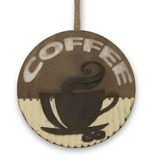 """16"""" Wood and Rustic Metal Coffee Cup Silhouette Wall Decor Kitchen Brown NEW"""