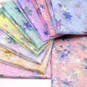 1Y Snowflake Sequins Fabric Tulle Mesh Wedding Dress Sewing Decor Xmas Craft DIY