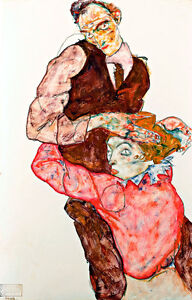 Lovers A1 by Egon Schiele High Quality Canvas Art Print