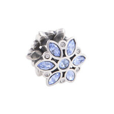 Solid 925 Sterling Silver Blue Cubic Zirconia Flower Charm Bead for Bracelet