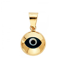 14K Solid Yellow Gold Evil Eye Pendant -Round Good Luck Necklace Charm Women Men