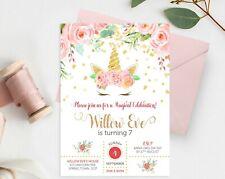 YOU PRINT - Floral Unicorn Invitation Gold Glitter Confetti Birthday Party JPEG