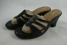 Clarks Dark Brown Slip on Wedge Leather Sandals Womens 9.5 Strappy Medallion
