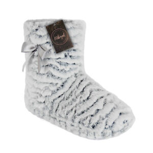 Habigail Ladies Boots Slipper Women Knitted Womens Booties Grey