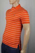 Ralph Lauren Orange White Stripe Pima Cotton Interlock Shirt Classic Fit NWT
